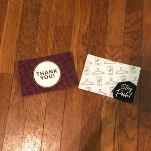 Other - 38 Official Poshmark Thank You Cards 2 Designs